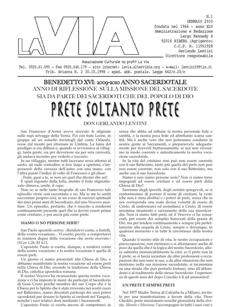 """""""Prete Soltanto Prete"""". E' morto Don Gerlando Lentini   - Malgrado Tutto Web"""